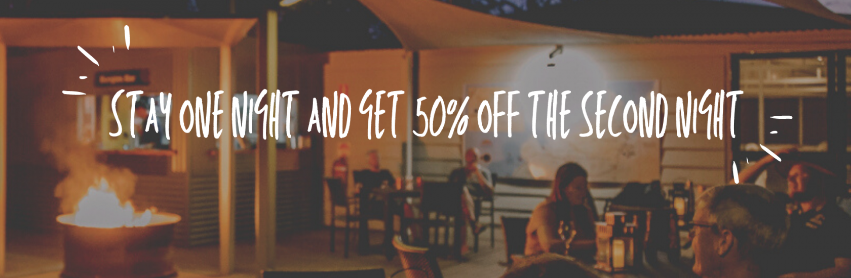 Stay one night and get 50% off your second night